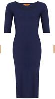 Hope Foundation 3/4 Sleeve Scoop Dress Navy Dual Curvy Long rrp £95 LS170 EE 09