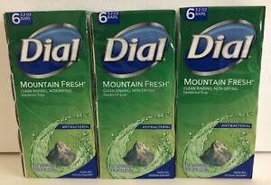 18 DIAL Mountain Fresh DEODORANT BAR SOAP Clean Rinsing ANTIBACTERIAL 3.2 oz x18