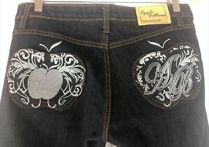 Apple Bottom Jeans Silver Embroidered Dark Wash Stretch Denim Women's Size 9