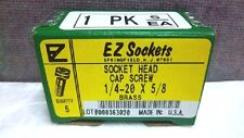 Box Of 5 Ez Sockets Brass S.H.S.C. Socket Head Cap Screws 1/4-20X5/8 New 1420X58