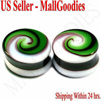 "0183 Double Flare Green White Swirl Glass Saddle Ear Plugs 11/16"" In 18mm Spiral"