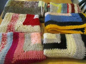Job Lot Of 6 Crocheted Blankets Coloured Handmade Pets Dolls Laps Imperfect NEW!