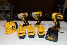 Mixed Lot 8 DeWalt 18V 3- Batteries, 2- Impact Drivers, Drill, Light & Charger