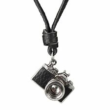Retro Mens Womens Charm Camera Long Pendant Leather Cord Necklace Jewelry