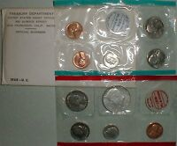 1968 United States Mint Annual Uncirculated P and D 10 Coin Set BU