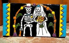 Day Of The Dead Bride & Groom Clay Tile 3 In x 6 In Hand Made Mexico Free Ship