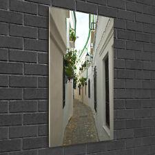 Wandbild Kunst-Druck auf Hart-Glas senkrecht 50x100 Straßen von Andalusien