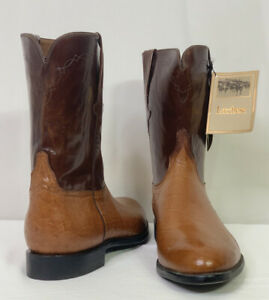Lucchese Handmade Men's Size 15D Cowboy Roper Boots L5249 Brown Ostrich Leather