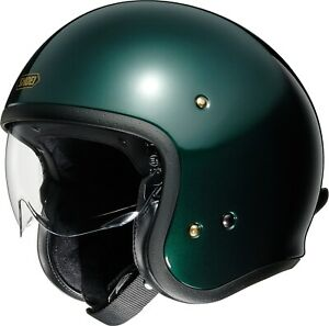 Compact Shoei Motorcycle Scooter Jethelm J.O with Clear Visor IN British Green