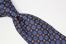 Ermenegildo Zegna Silk Necktie Blue Orange Ring Floret Weave Italy Used Woven
