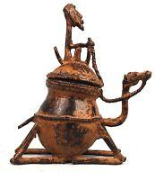 Arte Africano - Contenitore Cavaliere IN Bronzo Dogon - Dromedario - Mali - 19