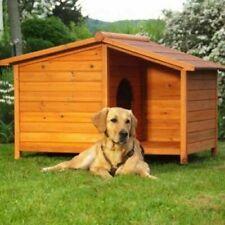 Cuccia in legno per cani da esterno con veranda + regalo L132 x P85 x H86 cm
