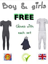 boys girls thermal long johns t shirt white grey base layers childrens FULL SET