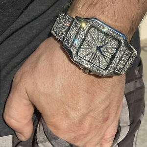 """Mens Silver Tone Watch Blue Hands Heavy Iced Flooded Out Square Face 8"""" in Band"""