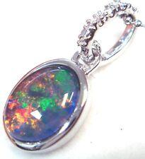 Australian Opal Natural Black Triplet Opal Necklace  Solid  Silver JEWELLER BOX
