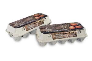 154 Stück 10er Eierkartons mit Aufdruck Bodenhaltung oder Freilandhaltung Pappe