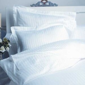 KING WHITE STRIPE 5 PIECE DUVET COVER SET 1500 THREAD COUNT 100% EGYPTIAN COTTON