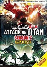 DVD Attack On Titan Season 2 (1-12 End)+ 6 Special English Version FREE Shipping
