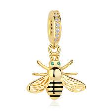 NEW Genuine SS Sterling Silver Gold Bee Dangle Charm Bracelet PY1457