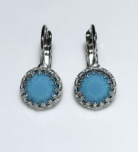Crystal Leverback Earrings Silver Plate Turquoise Blue Made With Swarovski