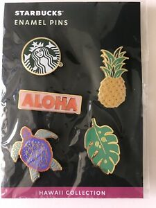 Starbucks Coffee Hawaii Collection Enamel Pin set Aloha Pineapple Turtle w/SKU
