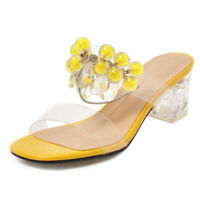 NEW Women Sandals Silp On Clear Mid Chunky Heel Beach Casual Shoes Big Size 2-16