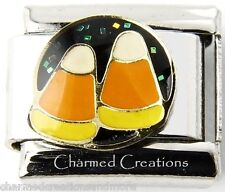 Halloween Candy Corn With Glitter 9mm Italian Charm Stainless Steel Modular Link