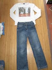 Lot Pantalon en jean + Tee-shirt,ML,Taille 10ans,marques Kiabi/Vynil Fraise,TBE