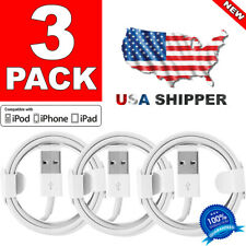 3 pk Apple iPhone iPad USB Lightning Cable Charger 11 XS XR X 8 7 6s 6 Plus SE 5