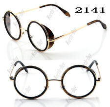 New Funky Fashion Clear Lens Round Glasses Frame Mens Womens Hipster Small Gold