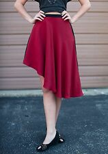 Anthropologie Line & Dot Asymmetrical Silk Colorblock Skirt Small Red NWT $118