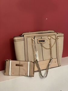 RIVER ISLAND Handbag Shoulder Bag With Purse Faux Suede Cream NEW with TAGS