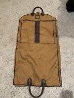 RARE VINTAGE folding GARMENT BAG monogram RED canvas & Leather w/ GUCCI stripe