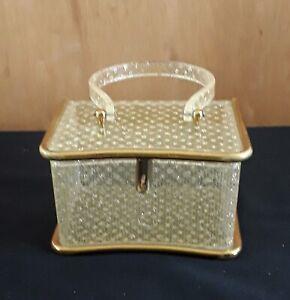 Wilardy Original Clear Lucite & Brass Ladies Purse, 1950s