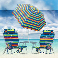 Tommy Bahama Green Stripe Beach Chair Set w/ Adjustable 8ft Umbrella LAST STOCK!
