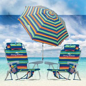 Tommy Bahama Green Stripe Beach Chair Set w/ Adjustable 8ft Umbrella LAST STOCK!