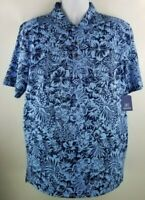 George Mens All Over Print Jersey Polo Shirt Large Blue Hawaiian Floral Flowers