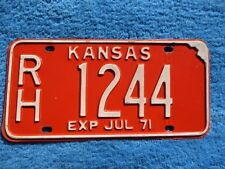 Vintage Original KANSAS 1971 RH 1244 License VEHICLE Tag Man Cave Reissue.
