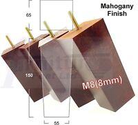 4x WOODEN REPLACEMENT FEET FURNITURE LEGS 150mm HIGH SOFA, CHAIR, STOOL M8(8mm)