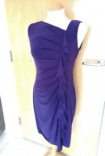 Ladies Purple Dress Size 10 Stretch Wiggle Pencil Ruffles Ruched