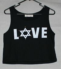 Women's black sleeveless crop LOVE print SIZE measurements given