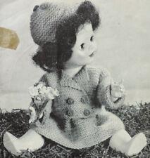 """Ropa de muñecas vintage Tejer patrón * * Chaqueta Cap Falda Pantalones * 14"""" Dolly"""