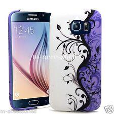Lila Floral silicone/gel Funda Protectora Skin Para Samsung Galaxy S6 sm-g920 + Sp