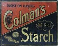 Colmans Starch VINTAGE ENAMEL METAL TIN SIGN WALL PLAQUE