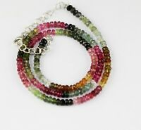 Sterling silver Genuine Beautiful faceted Tourmaline beads Bracelet 3 to 3 mm