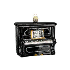 OWC BLACK UPRIGHT PIANO MUSICAL INSTRUMENT GLASS CHRISTMAS ORNAMENT 38017