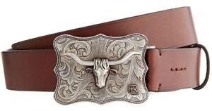 $395 Ralph Lauren Purple Label Brown Leather Western Longhorn Buckle Belt New