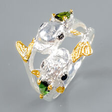 Gemstone jewelry  Natural Tourmaline 925 Sterling Silver Ring Size 8.5/R96920