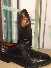 Ambassador ENGLAND Black Wing Tip Oxfords Mens 9.5 C Vtg V-Cleat