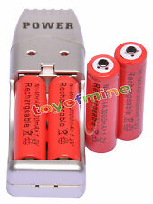 4X AA 2A 3000mah1.2V NiMH rechargeable batterie Rouge +USB Chargeur
